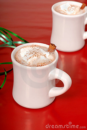 Free Two Cups Of Hot Chocolate With Green Ribbon Stock Photos - 1695993