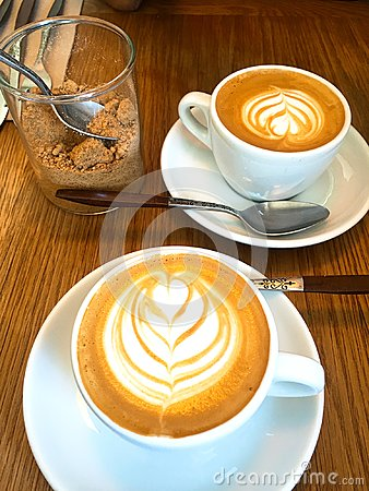 Free Two Cups Of Latte With Latte Art Royalty Free Stock Image - 107786516