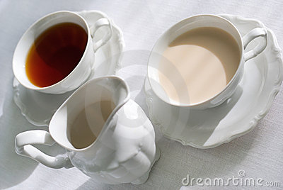 Two cups of tea and milk jug.