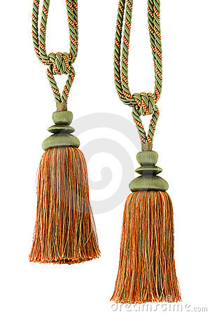 Two Curtain cord, tassels, isoated