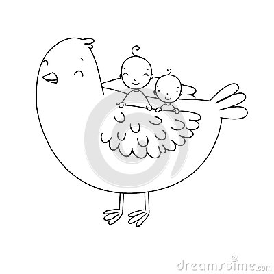 Free Two Cute Baby And A Bird. Royalty Free Stock Photography - 73511037