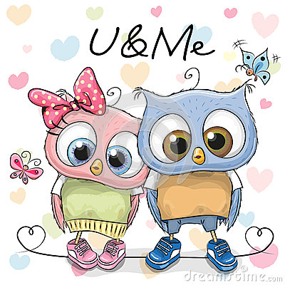 Free Two Cute Cartoon Owls Stock Photo - 69089200