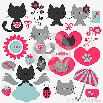 Two cute cats set of romantic elements