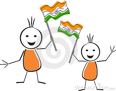 Two cute character holding the national flag.