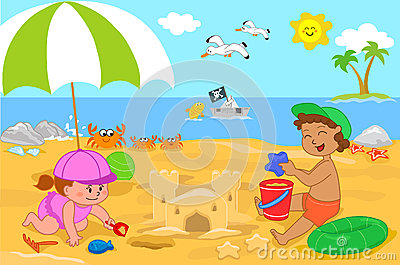 Two cute children playing with sand