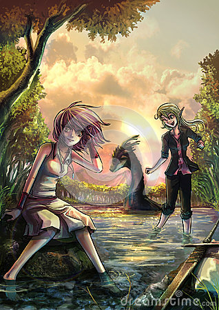 Two cute fantasy girls resting on the riverside bank