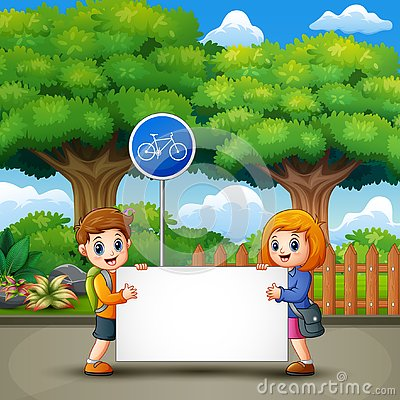 Free Two Cute Kids Are Holding A Banner In The City Park Stock Image - 133336321