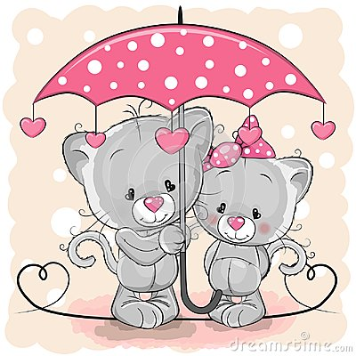 Free Two Cute Kittens With Umbrella Under The Rain Royalty Free Stock Photography - 109370757