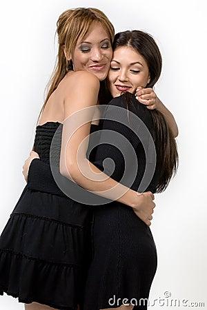 Two cute ladies hugging