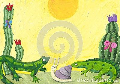 Two cute lizards in the desert