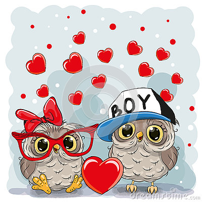 Two Cute Owls Vector Illustration