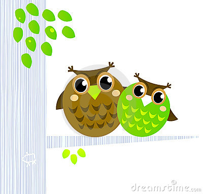Two cute Owls sitting on the branch.
