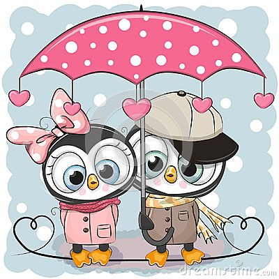 Free Two Cute Penguins With Umbrella Under The Rain Royalty Free Stock Image - 109492686