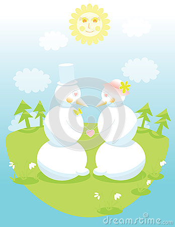 Two cute snowmen in love holding hands