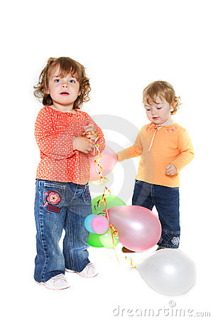 Free Two Cute Toddler Girls With Balloons Royalty Free Stock Photo - 13823775