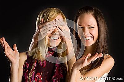 Two cute twins girls having fun