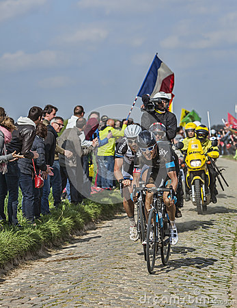Two Cyclists on Paris Roubaix 2014 Editorial Stock Photo
