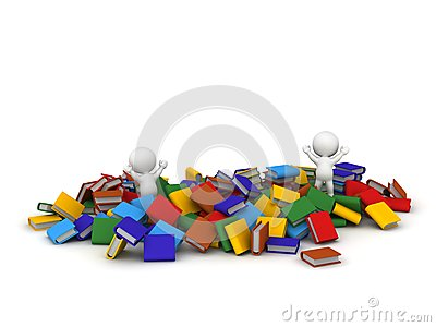 Two 3D Characters jumping and lots of colorful books