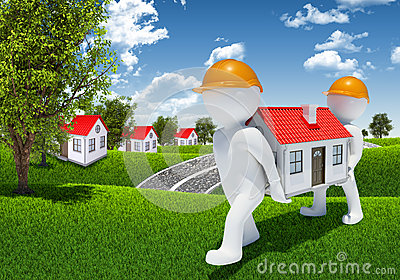 Two 3d human carry small white house