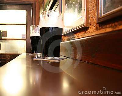 Two dark Irish stout beers