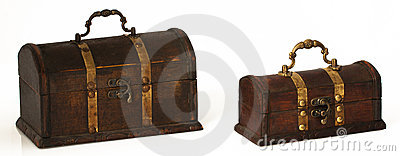 Two dark wooden chests on a white background
