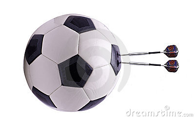 Two darts in football ball