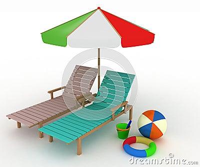 Two deckchairs under an umbrella