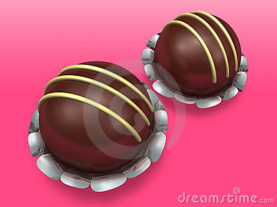 Two decorated chocolate on pink background