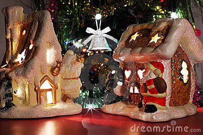 Two decorative Christmas toy houses
