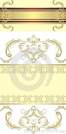 Two decorative golden borders for festive cards