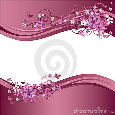Free Two Decorative Pink Floral Borders Royalty Free Stock Image - 13545626