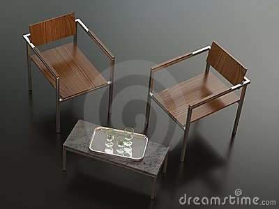 Two designer chairs and table