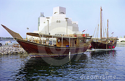 Two dhows and Qatar museum