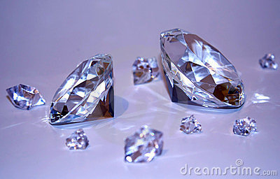 Two diamonds with fragments