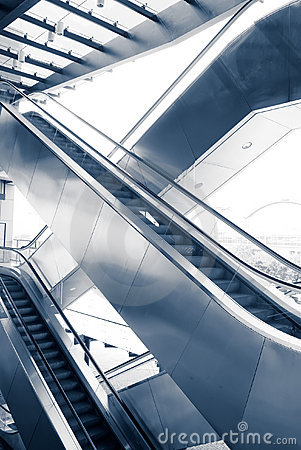 Two difference ways escalators in modern building