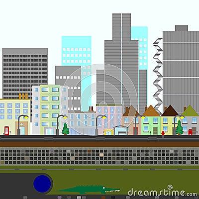 Two Dimensional City Scene