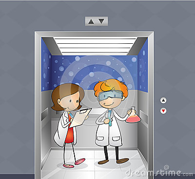 Two doctors inside the elevator