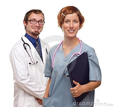 Two Doctors or Nurses on a White Background