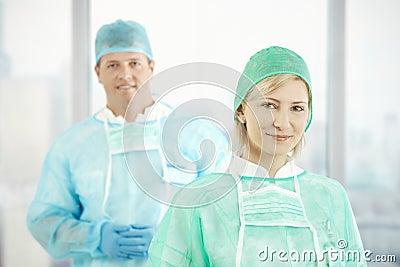 Two doctors in scrubs
