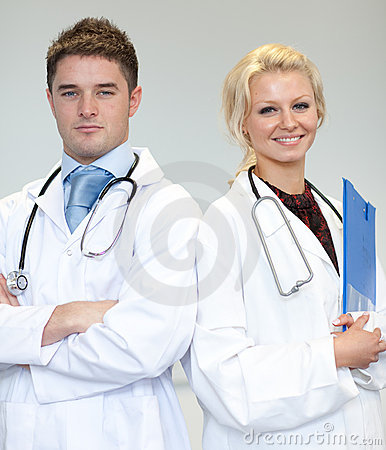 Two doctors with a stethoscope