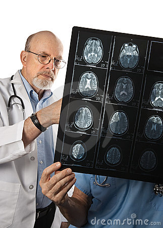 Two Doctors Viewing MRI Brain Scans