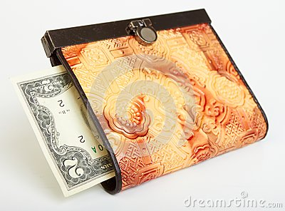 Two dollar bill in purse