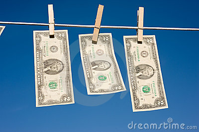 Two Dollar Bills on Clothesline