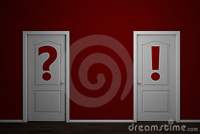 Two doors with question and answer