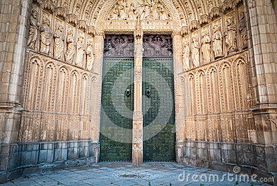 Two doors to cathedral of Toledo in Spain, Europe.