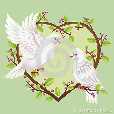 Two Doves on a heart shape tree