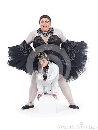 Two drag queens performing together