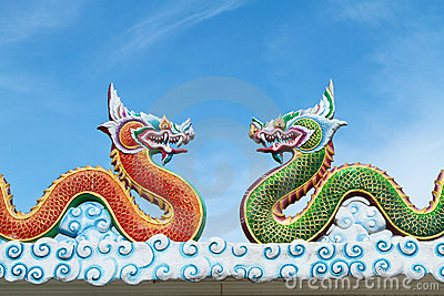 Two dragons with blue sky