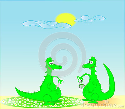 Two dragons in the solar morning