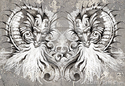Two Dragons, tattoo illustration over grey wall